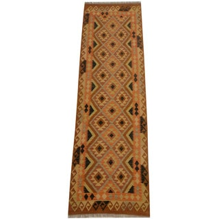 Herat Oriental Afghan Hand-woven Vegetable Dye Tribal Wool Mimana Kilim Runner (2'9 x 9'5)
