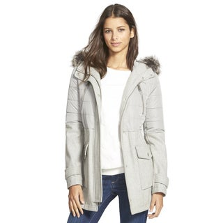 BCBGeneration Women's Gray Mixed Media Puffer Coat