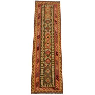 Herat Oriental Afghan Hand-woven Vegetable Dye Tribal Wool Mimana Kilim Runner (2'9 x 10')
