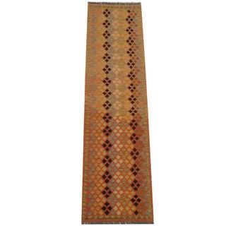 Herat Oriental Afghan Hand-woven Vegetable Dye Tribal Wool Mimana Kilim Runner (2'6 x 9'9)