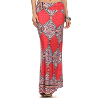 Women's Multicolored Polyester/Spandex Geometric Paisley Maxi Skirts