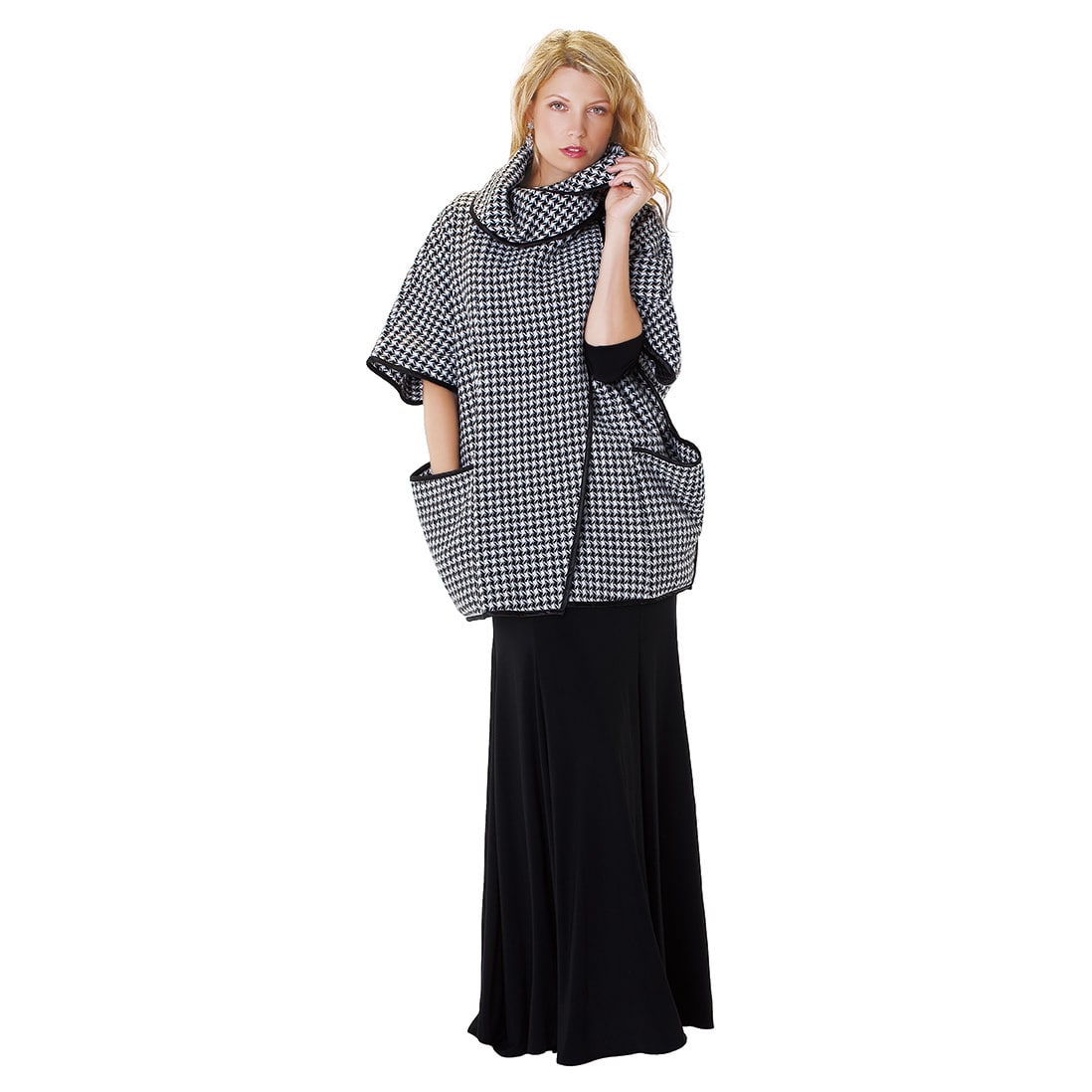 Kayla Collection Multi Way Black and White Knit Houndstoo...