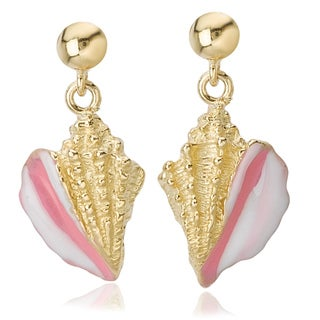 Avanti 14K Yellow Gold Pink and White Enamel Conch Dangle Earrings