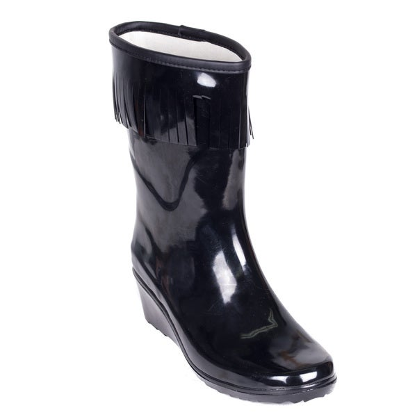 Women's Black Rubber Mid-calf Wedge-heel Tassel Rain Boots