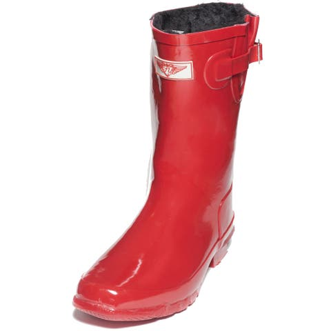 Women Mid-calf Faux Fur Lined Red 11-inch Rubber Rain Boots with Straps