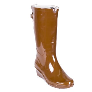 Women's Brown Rubber Mid-calf Wedge-heel Rain Boots