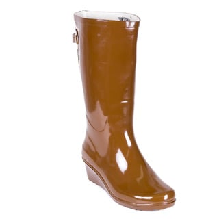 Link to Women's Brown Rubber Mid-calf Wedge-heel Rain Boots Similar Items in Women's Shoes