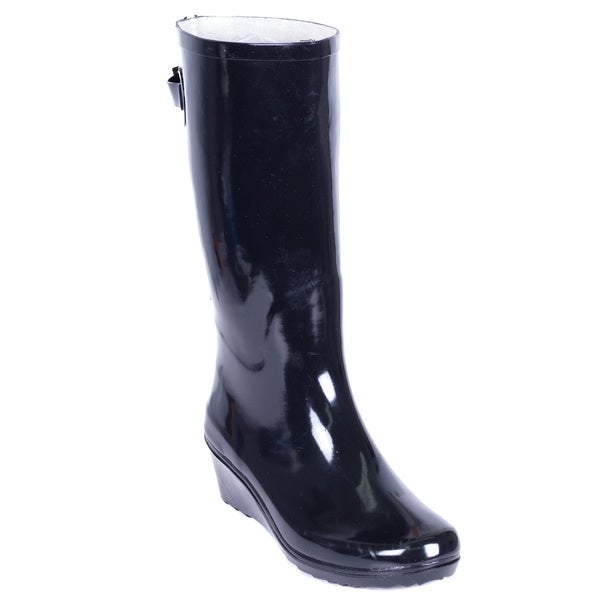 c88b0d48b38 Shop Forever Young Women's Black Rubber 14-inch Mid-calf Zipper ...