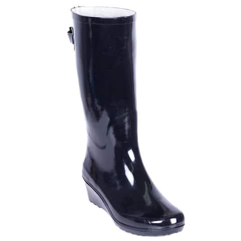 5491d934d Forever Young Women's Black Rubber 14-inch Mid-calf Zipper Wedge Rain Boots