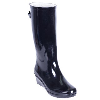 Forever Young Women's Black Rubber 14-inch Mid-calf Zipper Wedge Rain Boots