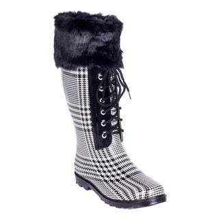 Women's Black Faux Fur Sock Rubber 14-inch Mid-calf Rain Boots