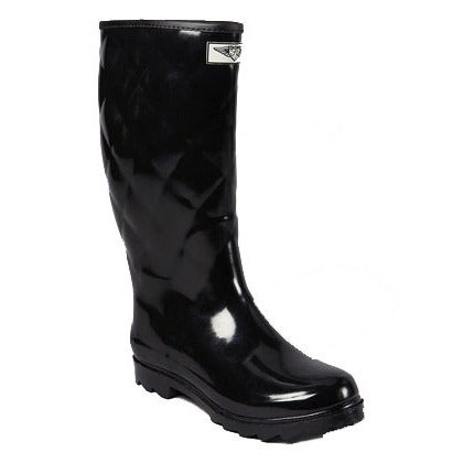 Women's Black Rubber Mid-calf Quilted Rain Boots