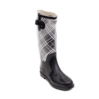 Link to Forever Young Women's Black and White Plaid Rubber 14-inch Rain Boots Similar Items in Women's Shoes