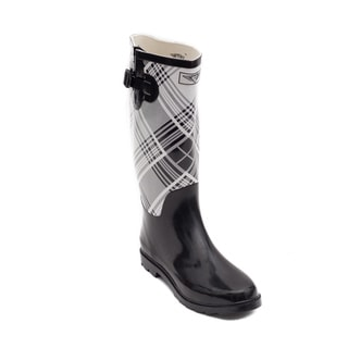 Forever Young Women's Black and White Plaid Rubber 14-inch Rain Boots