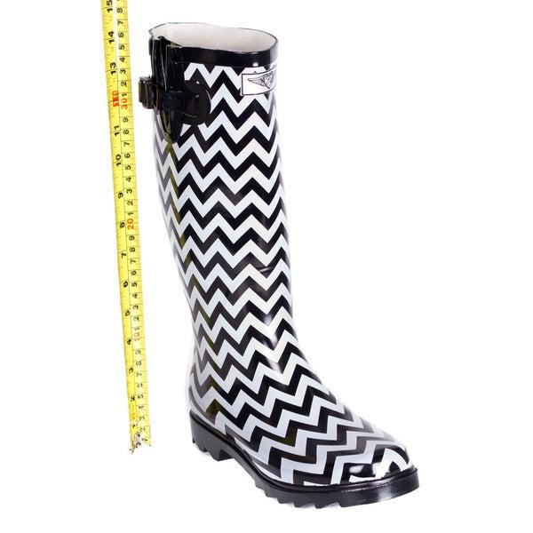 White Rubber Chevron Design Rain Boots