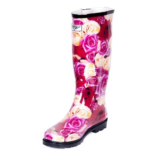 Forever Young Women's Rose Garden Multicolor Rubber Rain Boots