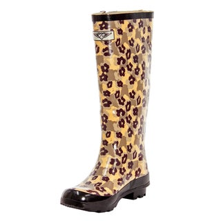 Forever Young Women's Animal Camouflage Rubber 14-inch Rain Boots