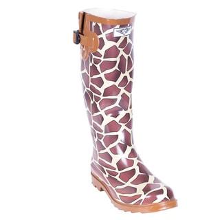 Women's Multicolored Rubber Knee-high 14-inch Giraffe-print Rain Boots