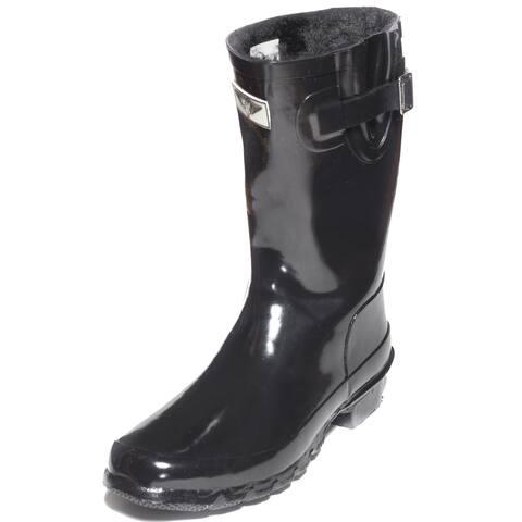 Women's Black Rubber Mid-Calf Basic Rain Boots