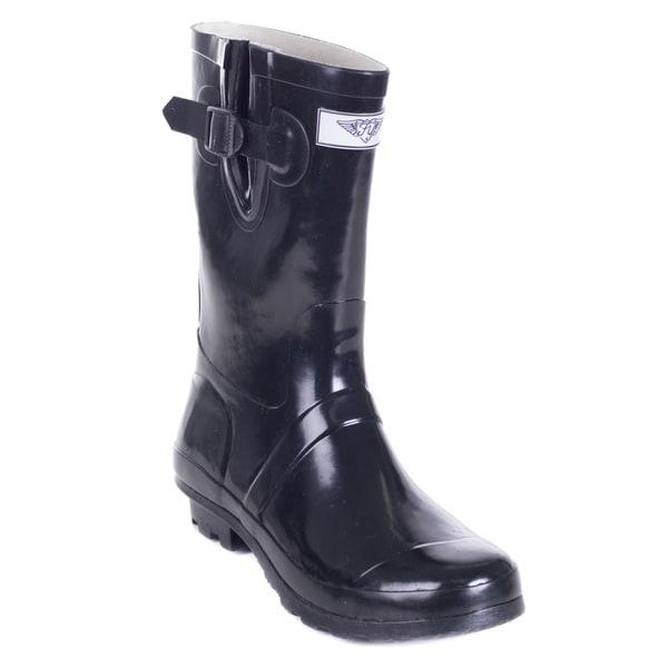 Women's Black Rubber 11-inch Classic Rain Boots