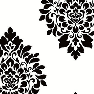Bradford Blue and Black Vinyl 32.7-foot x 20.5-inch Large Damask Spot Wallpaper