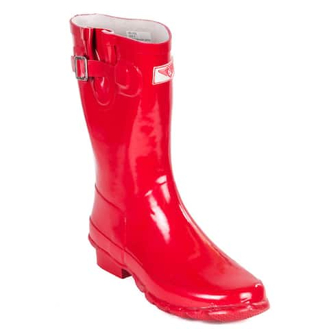 Womens Forever Young Red Rubber Mid-Calf Classic Rain Boots