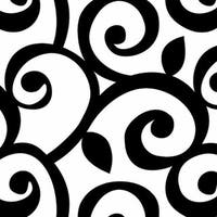 Liverpool Black and White Vinyl 32.7-foot x 20.5-inch Classic Scroll Wallpaper