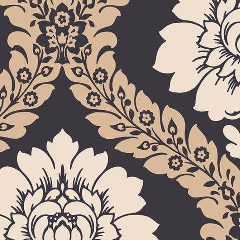 Manhattan Comfort Floral Damask Paper and Vinyl 32.7-foot x 20.5-inch Wallpaper - 32.7' x 20.5