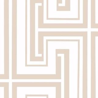 Manhattan Comfort Bristol Paper-backed Vinyl 32.7-feet x 20.5-inch Geometric Maze Wallpaper (Option: Beige and White)
