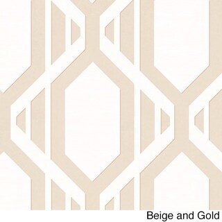 Cardiff Geometric Stripe 32.7-foot x 20.5-inch Wallpaper - 32.7' x 20.5 (Option: Beige/Gold)