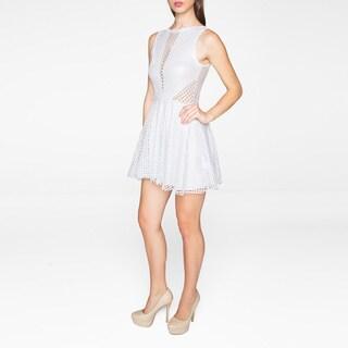 Sentimental NY Elastic/Nylon/Spandex/Fishnet Illusion V-neck Sleeveless Skater Dress