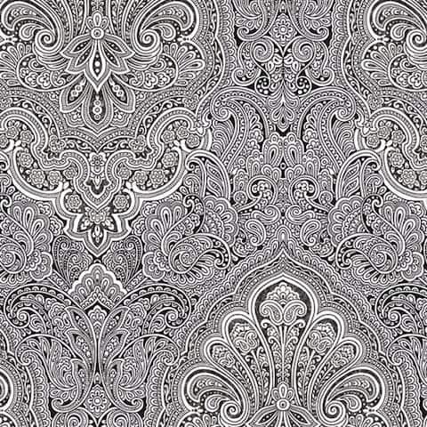 Sunderland Doodle Design Black and White 32.7-foot x 20.5-inch Wallpaper