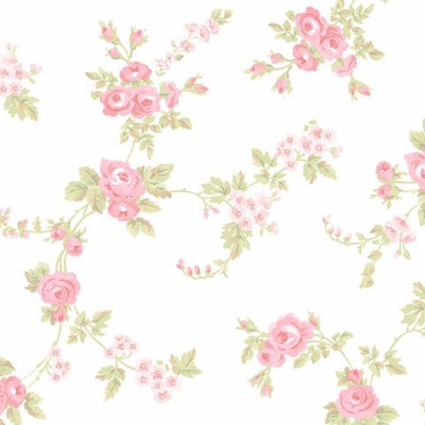 Manhattan Comfort Willingford Multicolor Vinyl 32.7-foot x 20.5-inch Rose Floral Trail Wallpaper - 32.7' x 20.5