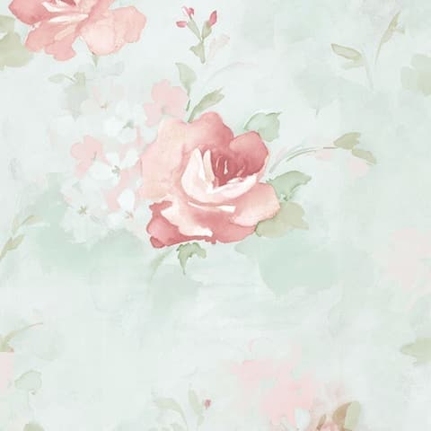 Waterbury Floral Watercolor 32.7-foot x 20.5-inch Wallpaper - 32.7' x 20.5