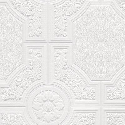 Brooklyn White 33-feet x 21-inches Textured Paintable Floral Square Wallpaper - 33-feet x 21-inches
