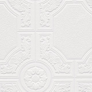 Brooklyn White 33-feet x 21-inches Textured Paintable Floral Square Wallpaper