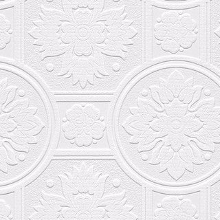Lucy White Paper/Vinyl Textured Paintable Floral Circle Damask Wallpaper