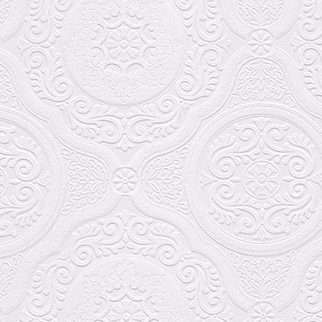 Carter White 33 Foot X 21 Inch Textured Paintable Floral Scroll Wallpaper    33