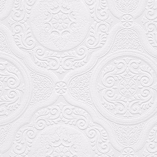 Carter White 33-foot x 21-inch Textured Paintable Floral Scroll Wallpaper