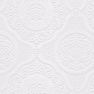 Carter White 33-foot x 21-inch Textured Paintable Floral Scroll Wallpaper - 33' x 21