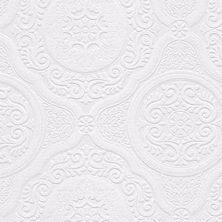 Carter White 33 Foot X 21 Inch Textured Paintable Floral Scroll Wallpaper