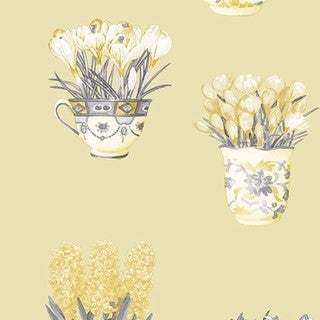 Manhattan Comfort Wellington Flower Pot Paper and Vinyl 32.7-foot x 20.5-inch Wallpaper
