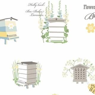 Manhattan Comfort Ocala 32.7-foot x 20.5-inch Washable Bee Homes Wallpaper