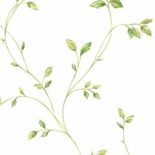 Manhattan Comfort Crestview Green/Off White 32.7-foot x 20.5-inch Floral Vine Wallpaper