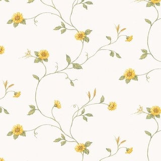 Manhattan Comfort Debary Yellow/Green/Off-white 32.7-foot x 20.5-inch-inch Sunflower Wallpaper