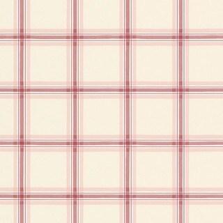 Manhattan Comfort Gulfport Red/Pink/Cream Paper-backed Vinyl 32.7-foot x 20.5-inch Plaid Wallpaper