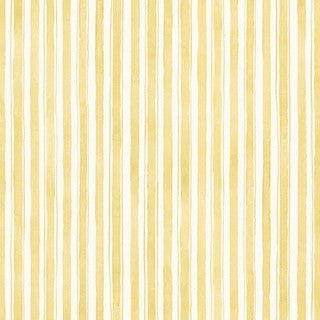 Quincy Yellow and Off-white Striped Wallpaper