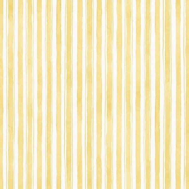 Quincy Yellow And Off White Striped Wallpaper