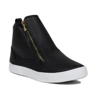 Blue Women's Ramola Black Faux Leather High-top Zip-up Sneakers
