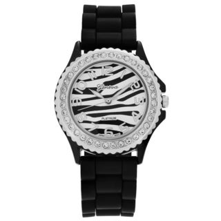 Geneva Platinum Women's Rhinestone Accent Striped Dial Silicone Strap Watch
